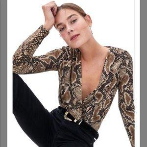 Zara Snake Print Cross Bodysuit
